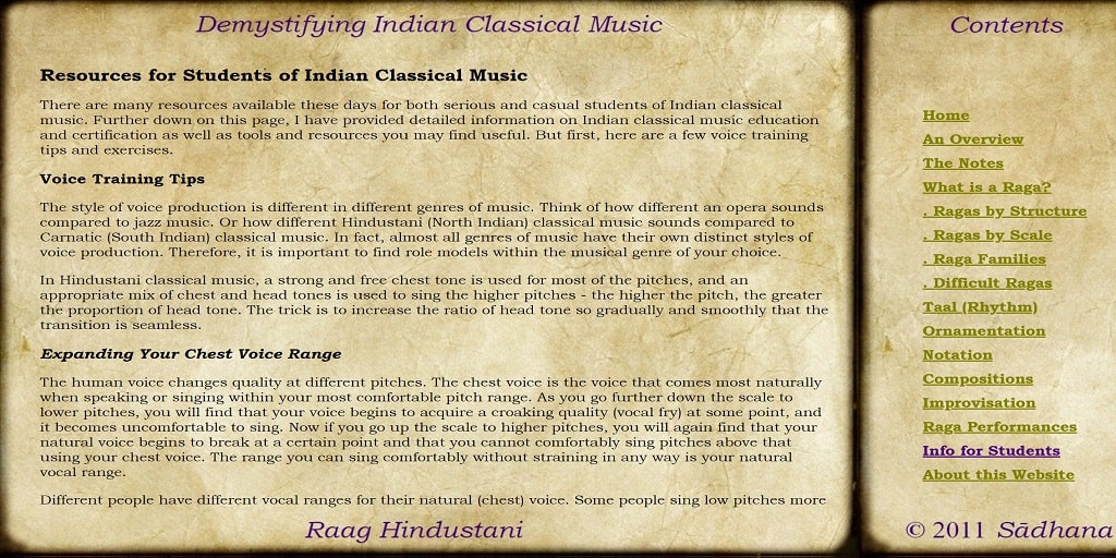 For Students of Indian Classical Music - Raag Hindustani