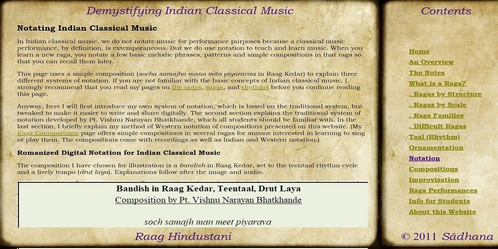 Notating Indian Classical Music - Raag Hindustani