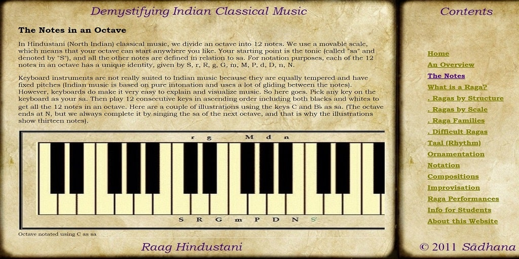 The Notes in an Octave in Indian Classical Music - Raag Hindustani