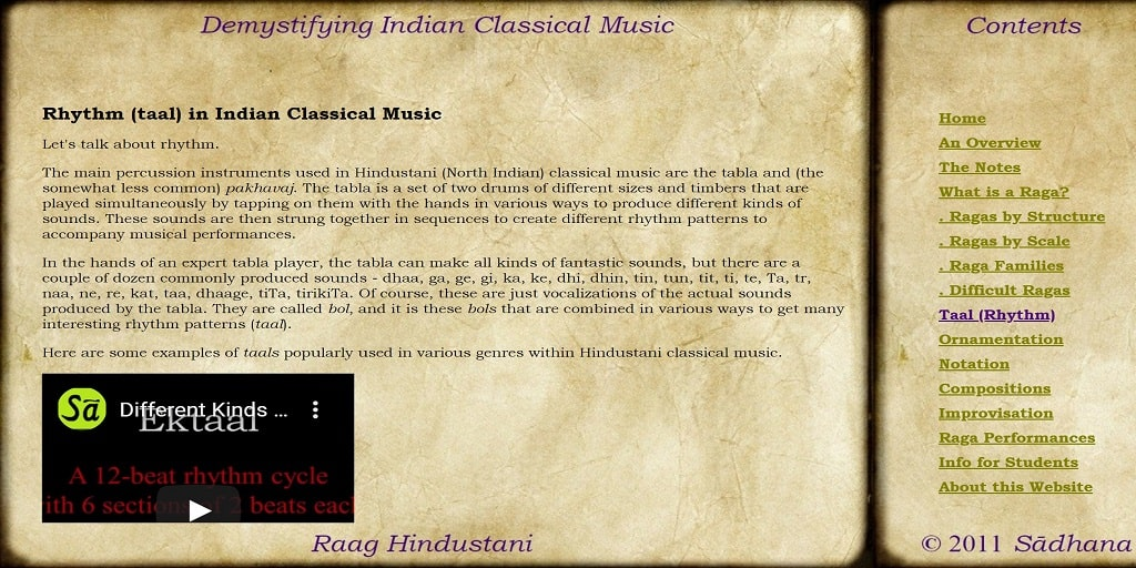 Rhythm (taal) in Indian Classical Music - Raag Hindustani