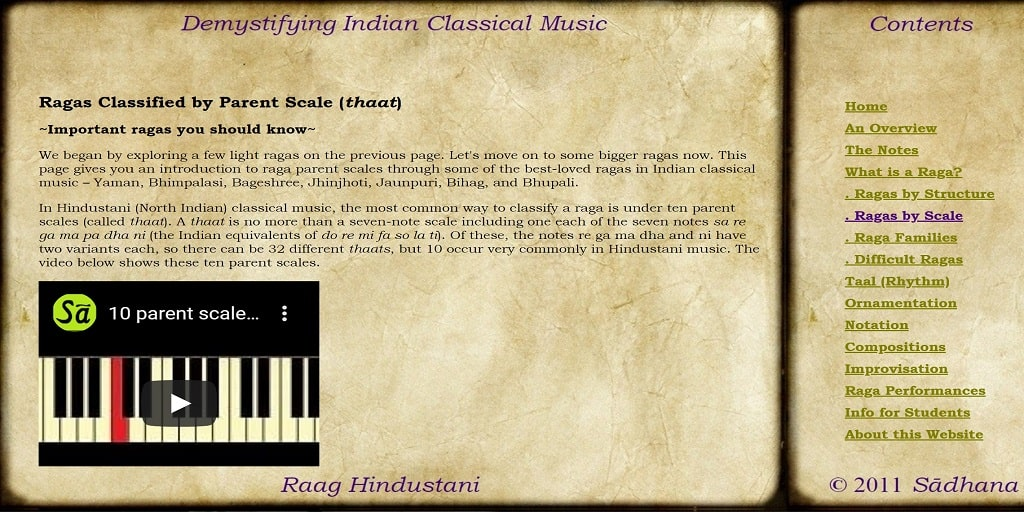 Different Kinds of Ragas by Scale (thaat) - Raag Hindustani